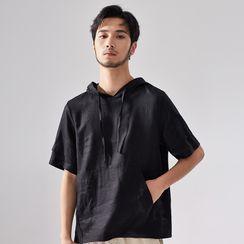 Ashen - Short-Sleeve Linen Hoodie