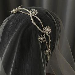 Onngak - Wedding Flower Rhinestone Faux Pearl Headband