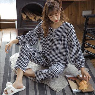 Noviril - 睡衣套装: 长袖格子上衣 + 家居裤