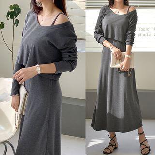 Seoul Fashion - Set: Cropped T-Shirt + Long Slipdress