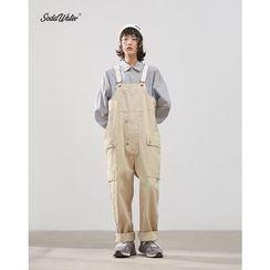 Denjo - 男女款多口袋寬鬆牛仔背帶褲