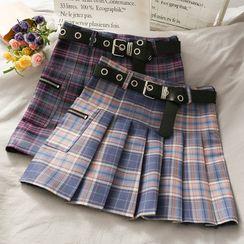 Lemongrass - 漸變格紋綁帶高腰百褶半身短裙