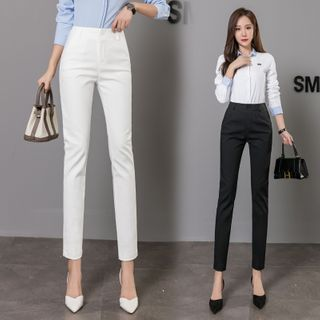 JULIONNE - High-Waist Slim Fit Plain Dress Pants