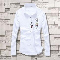 Kunji - Long-Sleeve Slim-Fit Embroidered Shirt