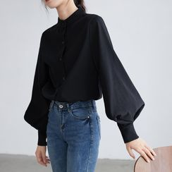 Shincastle - Bishop-Sleeve Stand Collar Buttoned Blouse