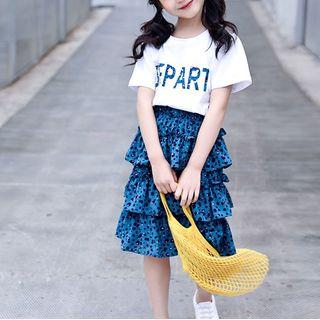 Spring Foresta - Kids Set: Short-Sleeve T-Shirt + Leopard Print Midi Tiered Skirt