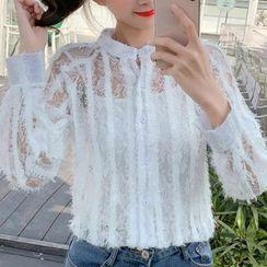 Nashe - 套装: 流苏蕾丝衬衫 + 吊带背心