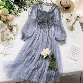 Lucuna - Balloon-Sleeve  Polka Dots A-Line Mesh Dress