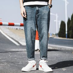 Rampo - Washed Straight-Cut Jeans