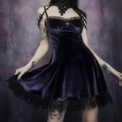 meadowdrop - 細肩帶蕾絲邊迷你A字連衣裙