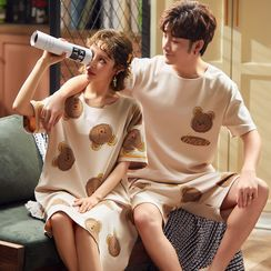 Ribbonsong - Couple Matching Bear Print Elbow-Sleeve Top / Shorts / Sleep Dress