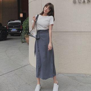 PINPI - Short-Sleeve Plain Top + High-Waist Plain Wrapped Skirt