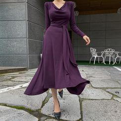 DABAGIRL(ダバガール) - Cowlneck Maxi Swing Dress with Sash