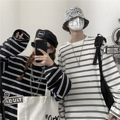 Malnia Home - Couple Matching Long Sleeve Striped T-Shirt