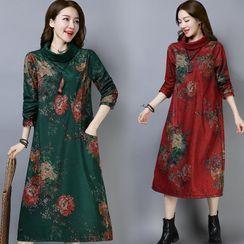 Glorieux - Flower Print Long-Sleeve Midi Shift Dress