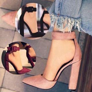 Shoeland - 尖頭粗跟涼鞋