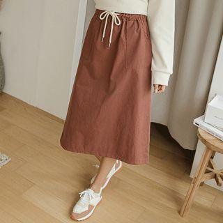 JUSTONE - Patch-Pocket Midi A-Line Skirt