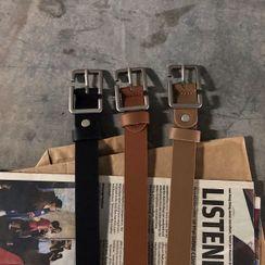 JUN.LEE - Faux Leather Cut Out Square Belt
