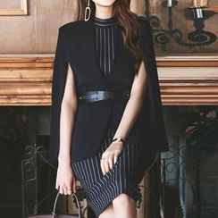 Yilda - 套装:披肩夹克 + 条纹连衣裙