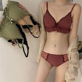 Guromo - Lace Trim Wireless Bra / Panties / Set