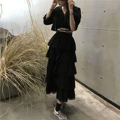 The Cat's Den - 短袖短款衬衫 / A字搭层中裙