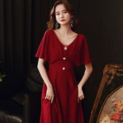 OOMEI - Short-Sleeve Lace Trim Midi A-Line Dress