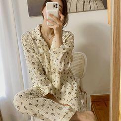 NIPONJJUYA - Pajama Set: Floral Print Textured Shirt + Pants
