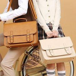 Asphalt - Faux Leather Satchel Bag