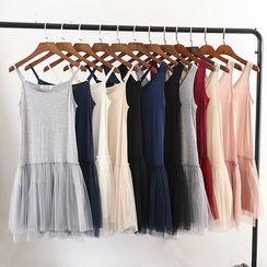 Lacyland - Sleeveless Sheer Panel A-Line Dress
