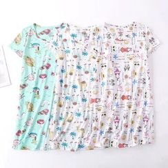 Lacyland - Printed Short-Sleeve Sleep Dress
