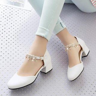 佳美 - 水鑽粗跟涼鞋