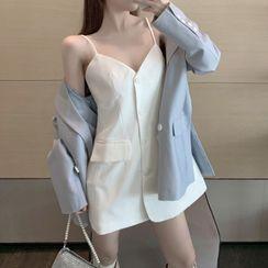 Hakarim - Double-Breasted Blazer / Belt / Spaghetti Strap Mini A-Line Dress / Set