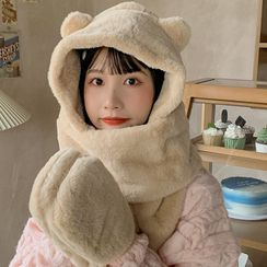 Pompabee - Bear Ear Chenille Hooded Scarf with Mittens