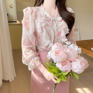 MyFiona - Tie-Neck Ruffled Floral Blouse