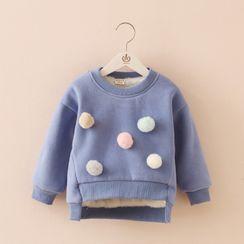 貝殼童裝 - 小童抓毛內襯毛球裝飾衛衣