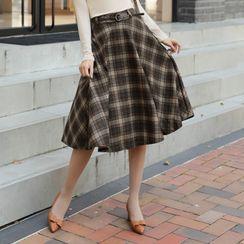 CLICK - Band-Waist Flared Plaid Skirt With Belt