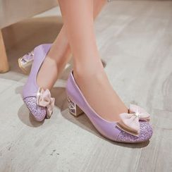 YOUIN - 蝴蝶結粗跟鞋