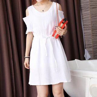 Fashion Street - Cut Out Shoulder Short Sleeve A-Line Dress