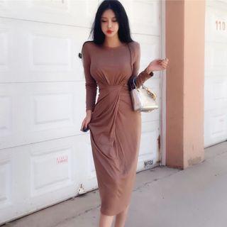 Long-Sleeve Midi T-Shirt Dress