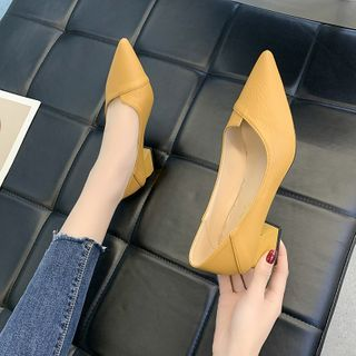 Novice(ノバイス) - Pointed Block Heel Pumps