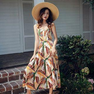 Dicezone - Spaghetti Strap Maxi Floral Sundress