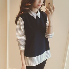 Oaksa - 假两件针织拼接条纹衬衫