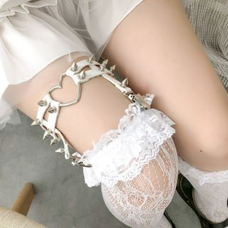 FlorSwallow - Lace Over-The-Knee Socks / Studded Garter / Set