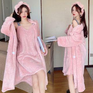 Heartsily - Fleece Robe / Spaghetti Strap Sleep Dress / Pants / Headband