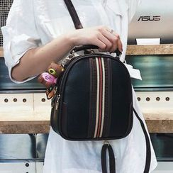 BeiBaoBao - Faux-Leather Striped Trim Backpack