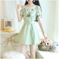 Petit Lace - 套裝: 露肩雪紡上衣 + 吊帶A字迷你裙