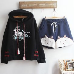 akigogo - Deer Print Hoodie / Sheep Embroidered Shorts / Set