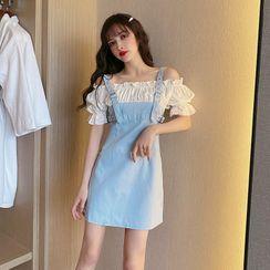 NENE - Short-Sleeve Cold Shoulder Mock Two-Piece Mini Sheath Dress
