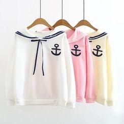 白金天使 - 水手領船錨刺繡套衫