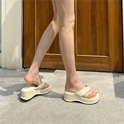 MONOBARBI - Plain / Checked Platform Flip-Flops